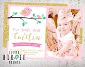 BIRD BIRTHDAY INVITATION - Gold Pink Bird first birthday invitation - Glitter Bird First Birthday Party Invitation - Birdie Invitation