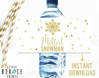 Melted Snowman Water Bottle Labels Wraps GOLD WINTER ONEDERLAND Instant Download Birthday Party Snowflake Gold Confetti Gold and Pink