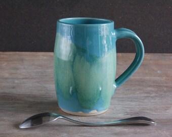 Artisan Coffee Mug, Handmade 12 oz (350 ml) Cup in Watercolour Blue