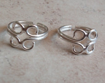 Sterling Wire Toe Ring Silver Midi Pinkie Ring Adjustable Mexican Vintage V0978L