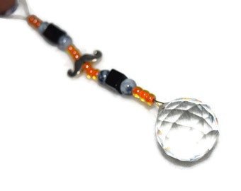 Mustache Crystal 20mm Sun Catcher Ornament Orange and Black beads for Rainbows Feng Shui