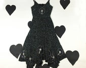 70's 80's silk silver beaded dress 1970's black constellation Stevie Nicks witchy romantic fairy dress / sleeveless / sequin star / S small