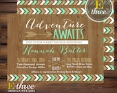 Tribal Boy's Baby Shower Invitation - Mint and Gold Adventure Awaits Shower Invitations - Baby Boy Shower - Rustic Arrows, Wood, Chevron