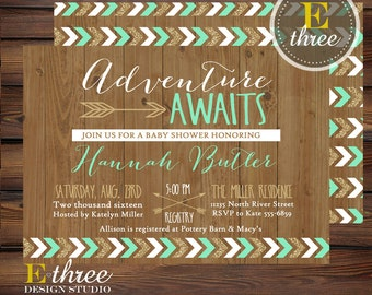 Mint and Gold Adventure Awaits Shower Invitations - Tribal Boy's Baby Shower Invitation - Rustic Arrows, Wood, Chevron #1026