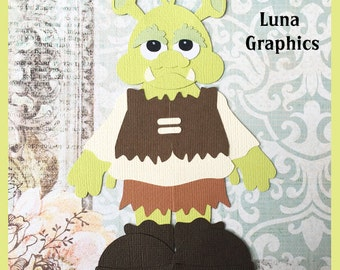 SHREK INSPIRED OGRE Paper Piecing card making and scrapbooking