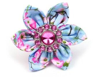Small Collar Flower- Bright Pink Rhinestone - Dog Collar Bow - Spring Flower - SF3