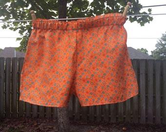 SALE--Size Large Orange flowers Womens Cotton Slumber Party, Lounge, Sleep Shorts, Play Shorts, Boxers.