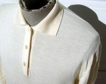 Merino Wool Mens Sweater Made in ITALY Extrafine Vanilla Cream Off White - Medium