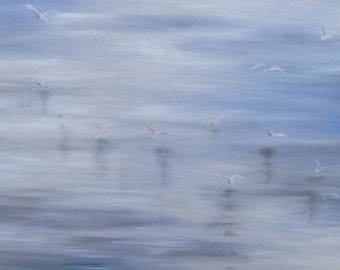 Seagulls  - Original Oil Painting - 100x70 cm