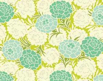 Heather Bailey - Up Parasol - Mum Toss in Chartreuse blue green floral - cotton quilting fabric - choose your cut
