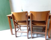 Vintage Wooden Double School Desk with Original Chairs - PICK UP ONLY