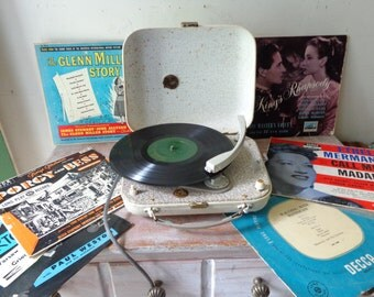 "Vintage His Master's Voice Portable Record Player (Minigram) with Collection of 10 "" Records from the 50s"