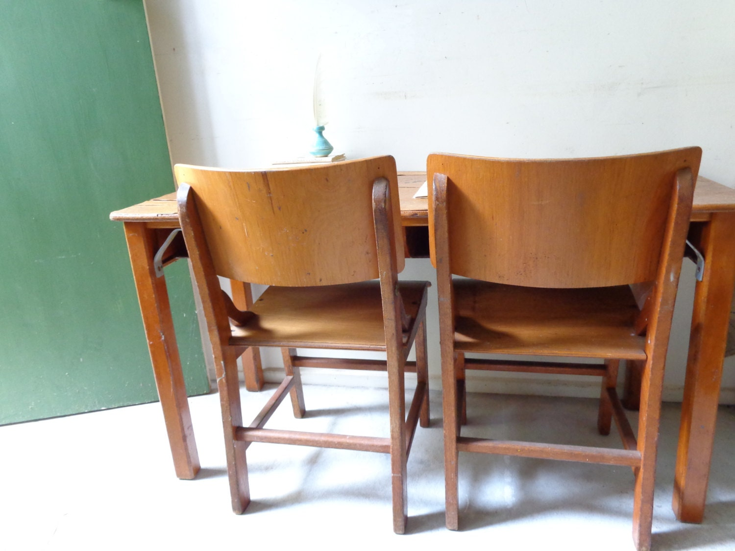Vintage Wooden Double School Desk with Original Chairs PICK