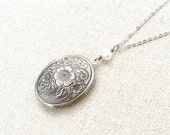 Locket, Silver Oval, Flower, Freshwater Pearl, Long Chain Necklace