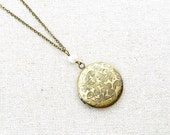 Locket, Antique Gold, Round, Leaves, Long Chain Necklace, 26 inches