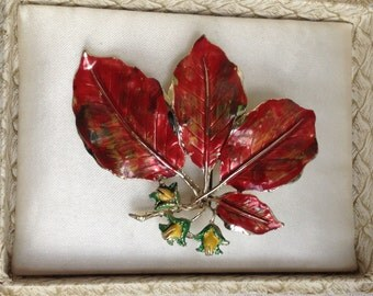 Lovely Vintage 1960s EXQUISITE Red Copper Beech Tree Series Brooch