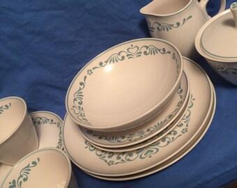 Franciscan Blue Fancy stoneware set, 11 piece
