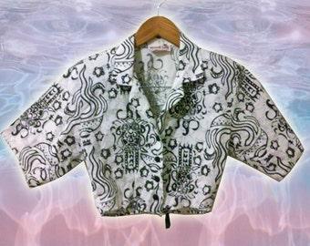 90s Vintage Black White Tribal Batik Print Cotton Crop Top size Small