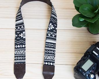 B12-Black and White Navajo/Native American/Graphic Camera Strap for DSLR , Mirror Less ,Compact