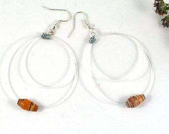 Hoop Earrings with Wire Wrapped Recycled Guitar Strings and Handmade Orange Paper Beads Music Lovers Gift Eco-friendly Vegan Jewellery