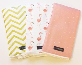 Monogrammed Burp Cloth Trio - Pink Flamingos - Personalized Burp Cloth Gift Set - Embroidered Baby Gift - Gold Metallic Chevron Flamingo