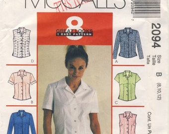 McCall's 2094 Misses Top with 8 variations Multi Sizes 8 - 10 - 12