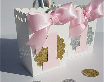 Pink And Gold, Girls First Birthday, Party Favors, Glitter & Number One, Popcorn Or Candy Box With Bow, Dessert Table Decorations, Set Of 12