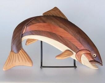 Rainbow Trout Fish Intarsia Wall Hanging Wooden Fish Carving Angler Home Decor Fresh Water Marine Wildlife