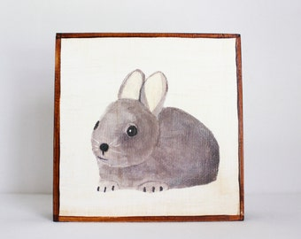 woodland nursery art, gray hare rabbit bunny wall art- nursery decor- kids room decor-woodland nursery wall art- art for kids- redtilestudio