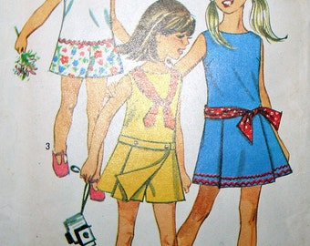 Vintage Childs Pant Dress Sewing Pattern Simplicity 8221 Size 7 Chest 26 1969