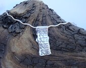 Fine Silver Textured Necklace - PMC - Aztec Motif with SS 1.5mm Wavy Omega Neck Chain