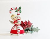 Vintage Napco Candy Cane Girl Bell, Ceramic Christmas Angel Figurine, Christmas Decor