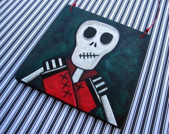 Halloween Skeleton Decoration, Creepy Skelly Art, Original Mixed Media Art, OOAK Ornament, stitched mouth, striped, black, white red, green