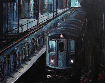 "NYC Subway Original ""16x20"" Acrylic Urban City Landscape Painting on Canvas"