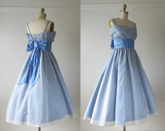 vintage 1950s dress / 50s dress / Blue Belle