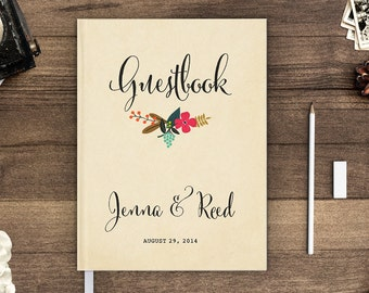 Guest Book, Guestbook, Wedding Guest Book, Wedding Guestbook, Personalized, Custom Guest Book - Flower Garden 1 (gb0023)