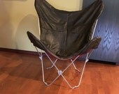 OOAK Handmade Raw Distressed Soft Leather Walnut Brown Butterfly chair