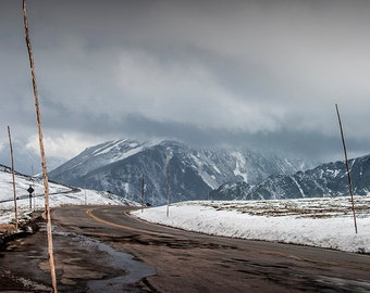 Roadway Pass through the snow over the Mountains in Rocky Mountain National Park in Colorado No.0918 Fine Art Mountain Landscape Photography