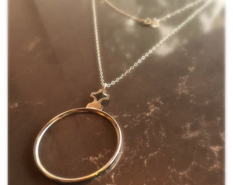 Monocle 1800s Pendant, Long Gold Chain, Layering Necklace, long gold necklace, Sherlock Holmes