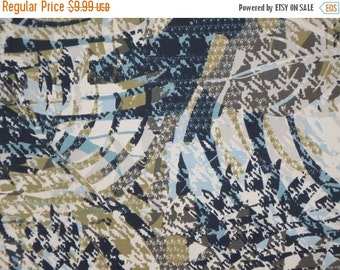ON SALE SPECIAL--Black Avocado and Teal Abstract Print Stretch Brushed Cotton Twill Fabric--One Yard