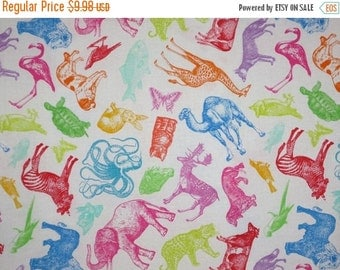 ON SALE Colorful Stamped Animals on White Pure Cotton Fabric--One Yard