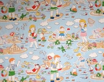 Retro Kids at the Beach Print Pure Cotton Fabric--One Yard