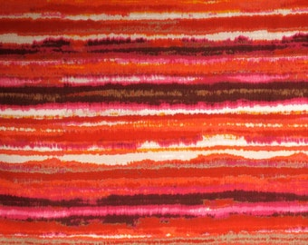 Stunning Reds with Taupe Striated Print Pure Cotton Basketweave Fabric--One Yard