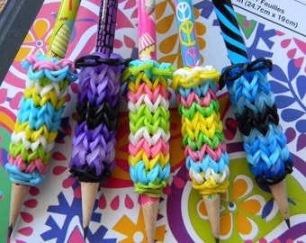 5 Removable Rainbow Loom Pencil Grips with Pencils - Colorful Grips - Zebra Print, Peace Signs, Alligator Print, Cupcakes, Ice Cream