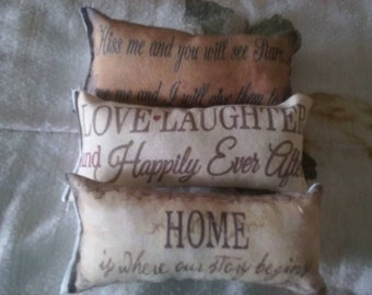 3 pc love laughter  home themed ornies decorative bowl fillers primitive shabby tucks