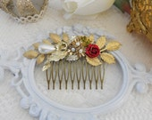 Jeweled Hair Comb, Gold Leaf Hair Comb, Reclaimed Vintage, Pearl Hair Comb, Floral Hair Comb, Assemblage Jewelry, Bridal Hair Comb, Woodland