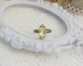 Yellow Adjustable Ring, Crystal Ring, Art Deco Ring, Stackable Rings, Jonquil Yellow, Estate Jewelry, Vintage Rhinestones, Rhinestone Ring