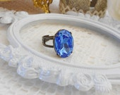 Dark Aqua Ring, Crystal Ring, Blue Ring, Statement Cocktail Ring, Adjustable Ring, Vintage Style Ring, Estate Jewelry, Antique Brass Ring