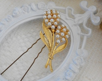 Vintage Pearl Hair Pin, Floral Hair Piece, Faux Pearl Hair Slide, Bridal Head Piece, Bridal Hair Piece, Hair Jewelry, Gold Leaf Bobby Pin