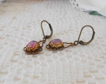 Art Nouveau Earrings, Glass Opal Earrings, Fire Opal Glass Studs, Harlequin Opal, Confetti Opal Studs, Drop Earrings, Vintage Glass Earrings
